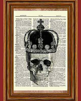 Gothic Skull Crown Dictionary Art Print Picture Poster Goth Halloween Skeleton