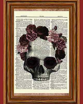 Gothic Skull Rose Flowers Floral Dictionary Art Print Book Skeleton Picture Goth