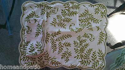24PC USED RARE D PORTHAULT GREEN FERN SCALLOPED PLACEMAT AND NAPKIN SET