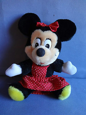 Vintage Plush Sitting Minnie Mouse Disneyland Walt Disney World Red Dress 7""