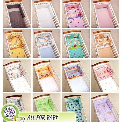 3 PIECES BABY NURSERY BEDDING SET, BUMPER DUVET/QUILT PILLOW cover to cot bed