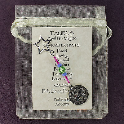 TAURUS ZODIAC CHARM Amulet Astrology Stars Sun Signs Planets Horoscope Traits