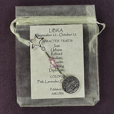 LIBRA ZODIAC CHARM Amulet Astrology Stars Sun Signs Planets Horoscope Traits