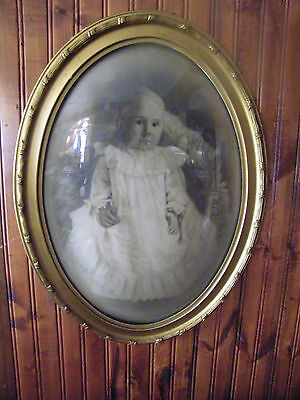 "ANTIQUE 22"" CONVEX BUBBLE CURVED GLASS PICTURE AND FRAME CHILD VINTAGE VICTORIAN"