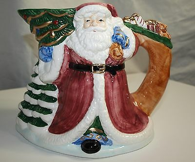1995 Hand Painted Home for the Holidays Santa Claus PItcher
