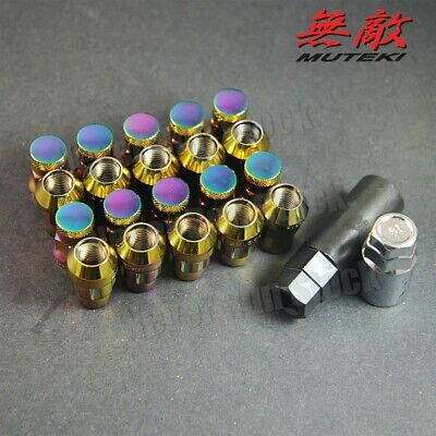 12x1.5 NEO CHROME MUTEKI SR35 CLOSED END ACORN TUNER WHEEL LUG NUTS LEXUS TOYOTA