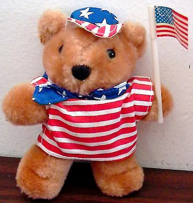 VINTAGE AVON PRODUCTS PATRIOTIC STARS STRIPES JULY 4TH TEDDY BEAR STUFFED ANIMAL