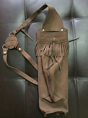 Traditional Archer's Suede Leather Back Quiver with Front Large Zipper Pocket
