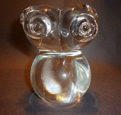 Vtg Royal Kendall Owl Art Glass Paperweight Figurine signed hooter