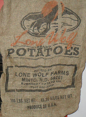 Burlap Potato Sack Lone Wolf Farms,Minto,ND 100# Great Graphics!