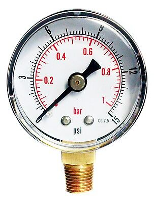 Pressure Gauge 40mm Dial 0/15 PSI & 0/1 Bar 1/8 BSPT BOTTOM and/or Hose Tails