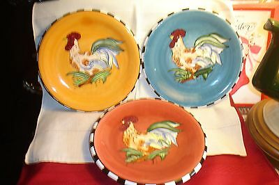 """Home Interiors Homco Set/3  """"Rooster Plates"""" Retired"""