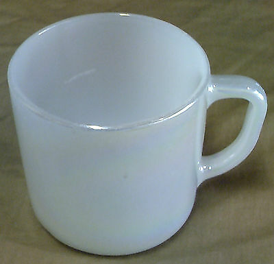 Two Vintage Federal Heat Proof Milk Glass Mugs - White & Iridescent White