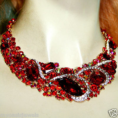 Rhinestone Choker Necklace Earring Austrian Crystal Pageant Prom Large Red