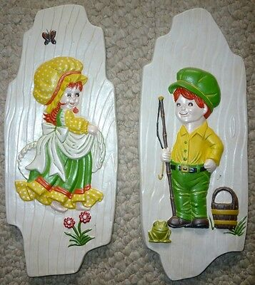 Vintage 1976 Arnel's Chalkware Wall Hanging Decor Plaques Molds Country Folk