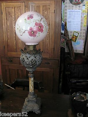 Large Victorian Banquet Oil Lamp with Satyr & Lions Heads