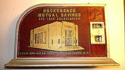 """RARE VINTAGE-ANTIQUE """"HACKENSACK MUTUAL SAVINGS AND LOAN ASSOCIATION"""" THRIFTER"""