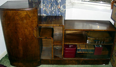 ART DECO CABINET BY P.E. GANE LTD. 1950s  curved main door and glass doors wood