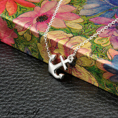 """Real sterling silver 925 plain small sideways Anchor pendant necklace 16""""-18"""""""