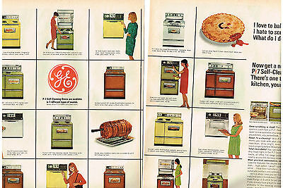 1967 Ad Ge P-7 Self-Cleaning Oven, Built-In Or Range. Automatic Sensi-Temp.