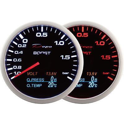 DEPO Racing 60mm Boost Turbo volt oil pressure and oil temperature gauge 4 in 1