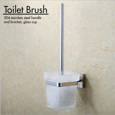 New Bathroom Toilet Brush Holder Wall Mounted Bathroom Accessories Glass 304 S/S
