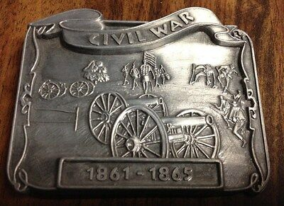 "3"" x 2 1/2"" CIVIL WAR SCENE  WITH CANNONS BELT BUCKLE NEW"