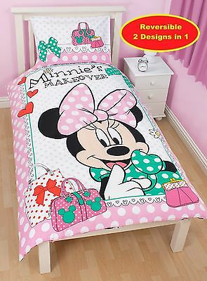 Minnie Mouse Makeover Reversible Single Duvet Quilt Cover Polycotton Bedding Set