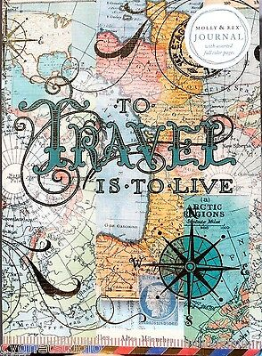 pUNCH sTUDIO Molly Rex Soft Cover Gold Foil 104 pg Journal~ To Travel is to Live