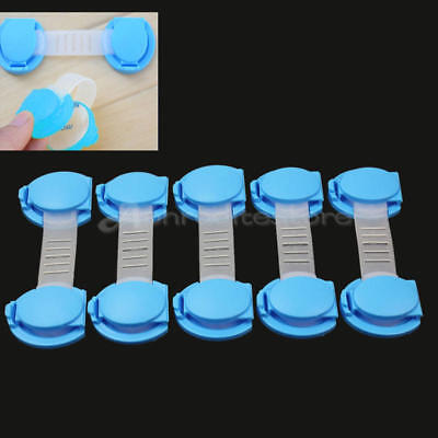 5 Pcs Blue Kitchen Toliet Cupboard Drawer Latch Baby Kids Toddler Safety Lock
