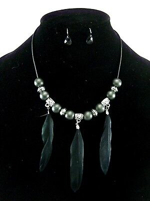 One Dozen New Wholesale Feather Necklace & Earring Sets #N2507-12