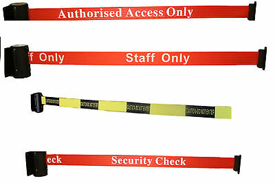 Security Queue Barrier Strap Auto Retracting  with Text or Strips Wall fixed