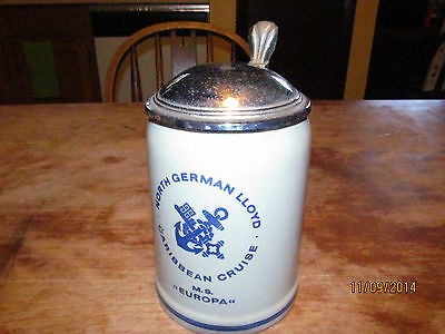 North German Lloyd M.S. EUROPA 0.5 L Stoneware Lidded Beer Stein Made In Germany