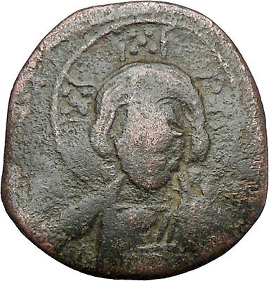 JESUS CHRIST Class A2 Anonymous Ancient 1025AD Byzantine Follis Coin i48175