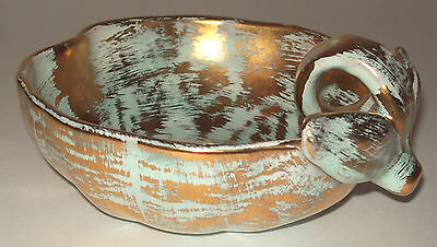 Stangl Gold Color And Light Aqua Green Handled Bowl