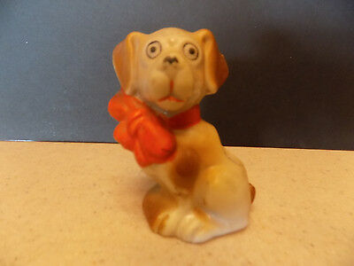 VINTAGE SMALL CERAMIC DOG WITH RED BOW MADE IN JAPAN TOOTHPICK HOLDER