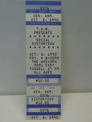Social Distortion 1990 Concert Ticket Stub Not Cd Or Lp Vinyl Record