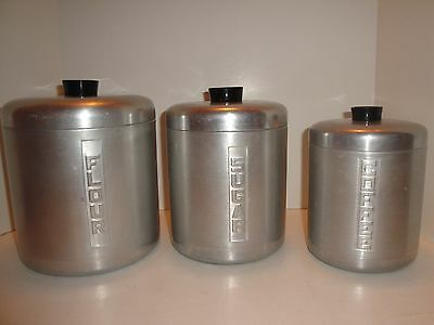 Vintage Mid Century Retro Tin Aluminum Canisters Set of 3 Free Shipping!