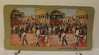 Old Spanish American War Celebration in Cuba COLOR STEREOVIEW Holiday in Havana