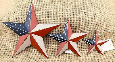 Lot of 3 Americana Flag Metal Barn Stars 3 sizes  Rustic Country Primitive NWT