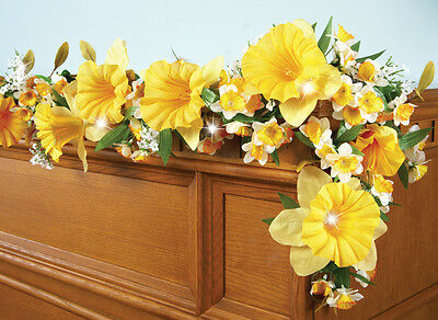 Collections Etc Lighted Floral Spring Daffodil Garland