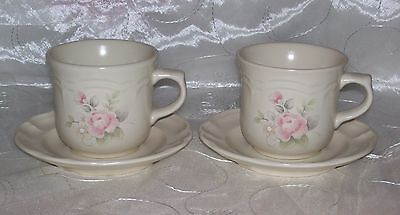 PFALTZGRAFF TEA ROSE Coffee /Tea Cup and Saucer Sets (2)-Ivory/Pink Flowers-EUC