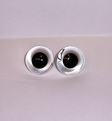 CLEAR GLASS EYES with BLACK PUPIL 26 MM SINGLE LOOP 1 PAIR