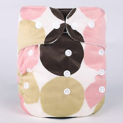 large circle Washable Reusable Adjustable Snap One-Size Minky Cloth Diapers-D6