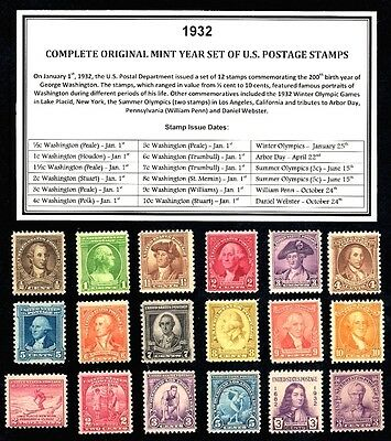 1932 COMPLETE COMMEMORATIVE YEAR SET OF MINT -MNH- VINTAGE U.S. POSTAGE STAMPS