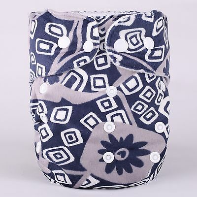 Washable Reusable Adjustable Snap One-Size Minky Cloth Diapers-D13