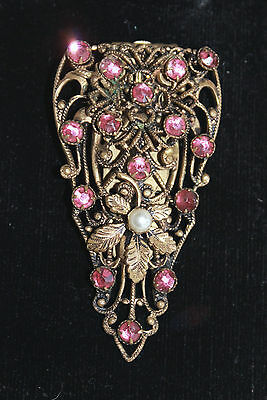 Vintage Art Deco pink Czech glass diamante rhinestone and pearl dress clip