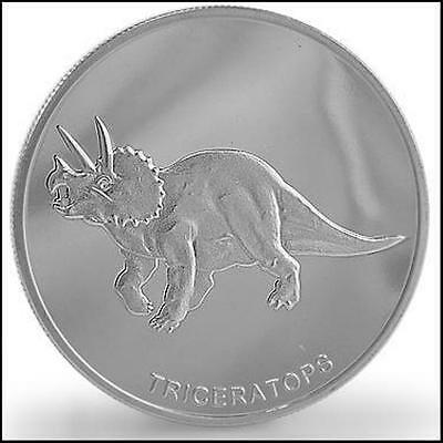 Collectors 1 Troy Ounce .999 Silver Clad Triceratops Dinosaur Commemorative Coin