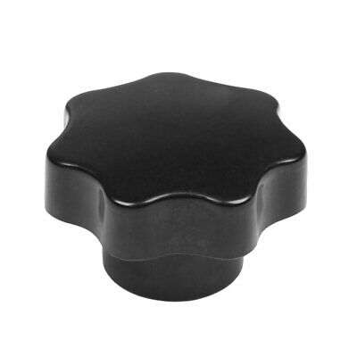 M12 60mm Dia Thread Black Plastic Star Head Clamping Knob Grip