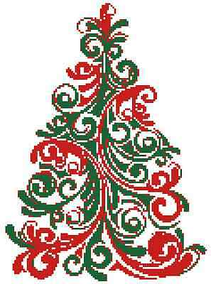Christmas Tree Color Swirl Easy Counted Cross Stitch Pattern